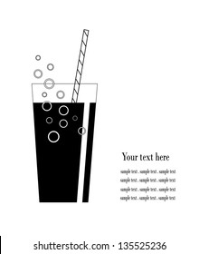 Coke glass with bubbles and sample text vector design