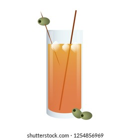 Coktail with olive in straw