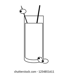 Coktail with olive in straw in black and white