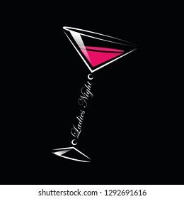 coktails glass ladies night line drawing vector illustration EPS10