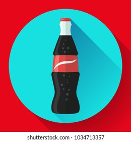 cola bottle icon soda bottle with red lable flat vector cola icon 7a58a1ba252