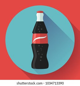 cola bottle icon soda bottle with red lable flat vector cola icon