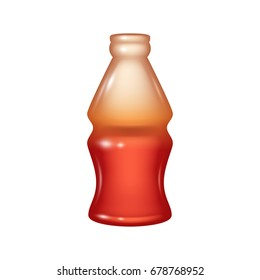 Cola bottle jelly candy icon. Realistic vector. Good for packaging design.