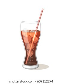 Cola drink in a glass cup with ice with sticks Vector Illustration on a white background. Aerated drink sweet symbol icon Glass for your projects.