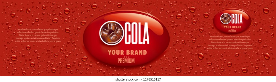 cola drink packaging with many drops and ice cubes in drink