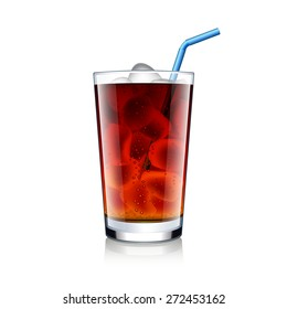 Cola glass with ice cubes isolated on white photo-realistic vector illustration