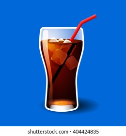 Cola glass with ice cubes isolated on blue photo-realistic vector illustration