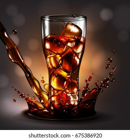 cola in glass with ice in a spray of drink,  high detailed realistic illustration