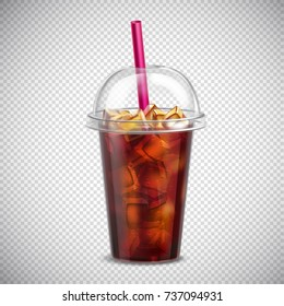 Cola with ice cubes and straw in takeaway cup realistic image on transparent background vector illustration
