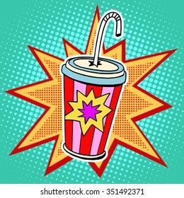 Cola paper cup straw fast food pop art retro style. Restaurants and entertainment. Sweet refreshing in the heat of the drink. Childhood and joy. Advertising poster retro background
