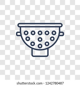 colander icon. Trendy linear colander logo concept on transparent background from kitchen collection
