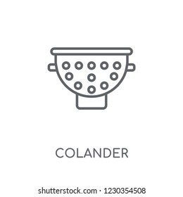 colander linear icon. Modern outline colander logo concept on white background from kitchen collection. Suitable for use on web apps, mobile apps and print media.