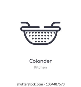 colander outline icon. isolated line vector illustration from kitchen collection. editable thin stroke colander icon on white background