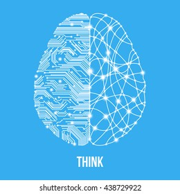 Cold analysis and bursting creativity paired together in brain and thinking concept. Human brain. Analytical brain. Creative brain. Human thinking. Analytical thinking, Creative thinking.