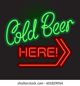 Cold Beer Here neon sign board. Vector illustration.