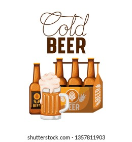 cold beer label with box and beer bottles
