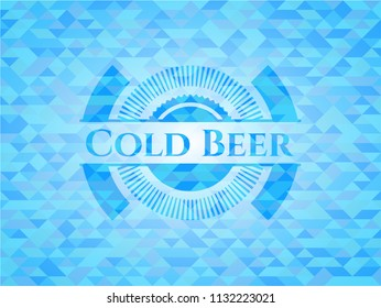 Cold Beer realistic sky blue emblem. Mosaic background