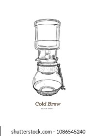 cold brew. coffee maker hand draw illustration vector.