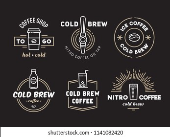 Cold brew coffee and nitro coffee badges. Vector line art logos for cafe