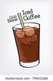 cold brew iced coffee vector