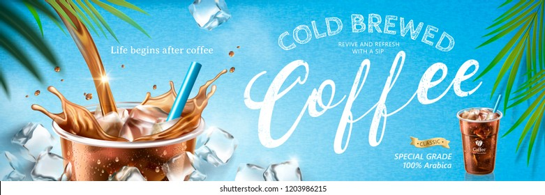Cold brewed coffee banner ads in 3d illustration, blue bokeh background