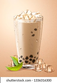 Cold bubble tea with ice cubes and green leaves in glass cup, 3d illustration