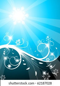 Cold Christmas background with snowflakes