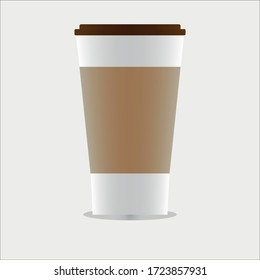 Cold coffee cup, tall shape, light brown paper girded medium, dark brown lid, shiny, under the cup, on a gray background