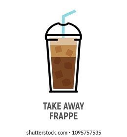 Cold coffee frappe drink flat design icon. Iced coffee cup isolated.