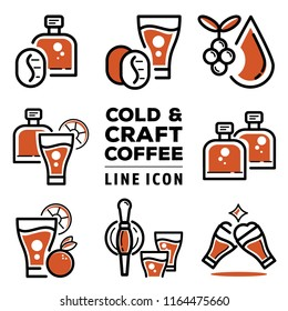 cold and craft coffee line icon design with coffee drop,glass bottles, coffee bean,coffee cherry and fizzy nitro cold brew coffee vector illustration