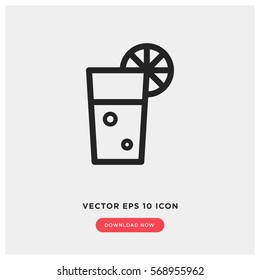 Cold drink vector icon, lemonade symbol. Modern, simple flat vector illustration for web site or mobile app