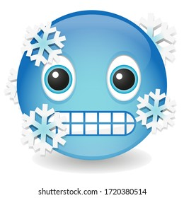 Cold Emoji Kawaii Face. Frozen Vector Design Art Trendy Communication. Chat Elements feeling extreme cold.