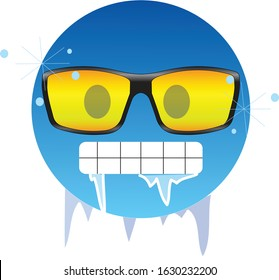 Cold emoticon wearing yellow sunglasses. Frozen face emoji wearing yellow sunglasses, having gritted teeth and icicles dripping from its mouth and lips. Sign of extreme cold weather and winter.