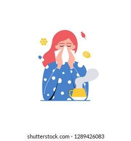 Cold, flu. Girl with handkerchief vector illustration