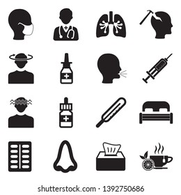 Cold And Flu Icons. Black Flat Design. Vector Illustration.