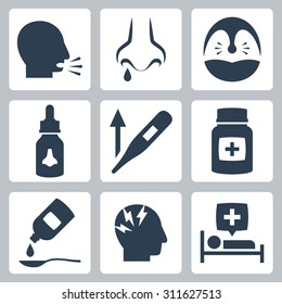 Cold and flu related vector icons