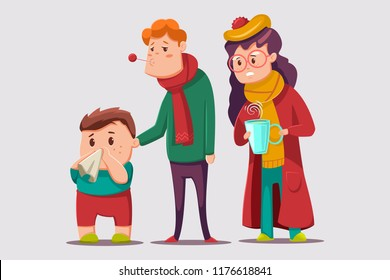 Cold and flu vector cartoon illustration. Sick family character. Ill people isolated on background.