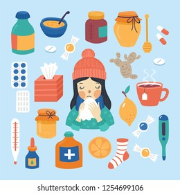 Cold flu and virus treatment concept. Cute young girl with handkerchief, medicine, drugs and natural illness treatments.Childish vector illustration