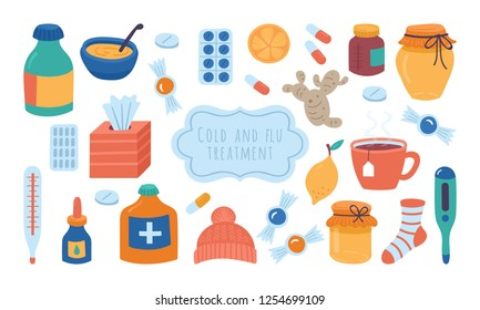Cold flu and virus treatment concept. Handkerchief, medicine, drugs and natural illness treatments.Childish vector illustration