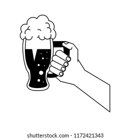 Cold glass beer in black and white