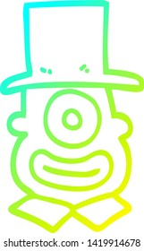 cold gradient line drawing of a cartoon cyclops in top hat