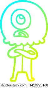 cold gradient line drawing of a cartoon cyclops alien spaceman