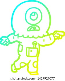 cold gradient line drawing of a cartoon cyclops alien spaceman pointing