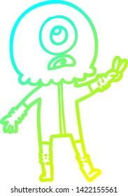 cold gradient line drawing of a cartoon cyclops alien spaceman giving peace sign