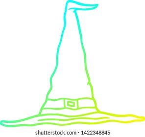 cold gradient line drawing of a cartoon witch hat
