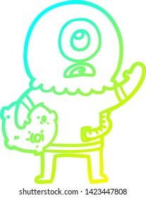 cold gradient line drawing of a cartoon cyclops alien spaceman waving