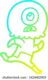 cold gradient line drawing of a cartoon cyclops alien spaceman running