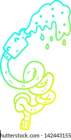 cold gradient line drawing of a cartoon hosepipe