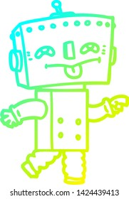 cold gradient line drawing of a cartoon robot