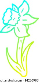 cold gradient line drawing of a cartoon daffodil